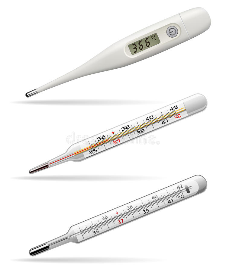 medicinska termometrar Digital, alkohol- och kvicksilvertermometrar för att mäta temperaturen av människokroppen vektor vektor illustrationer