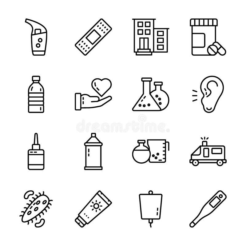 Medicinska tillbeh?rsymboler packar stock illustrationer