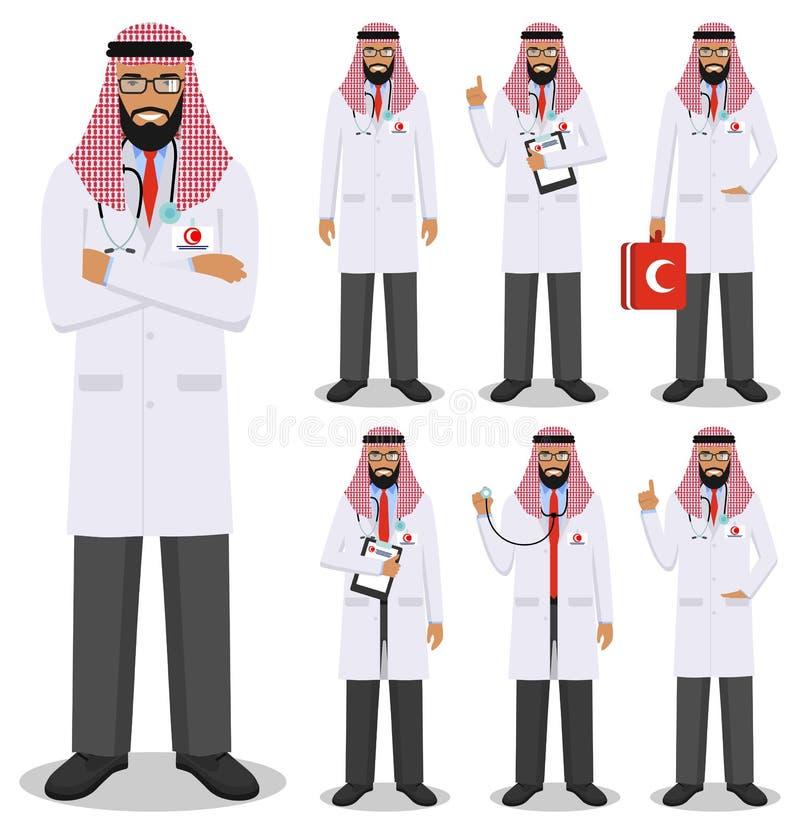 MEDICINSKT begrepp Detaljerad illustration av arabiska doktorer för unga muslim i plan stil som isoleras på vit bakgrund Praktike stock illustrationer