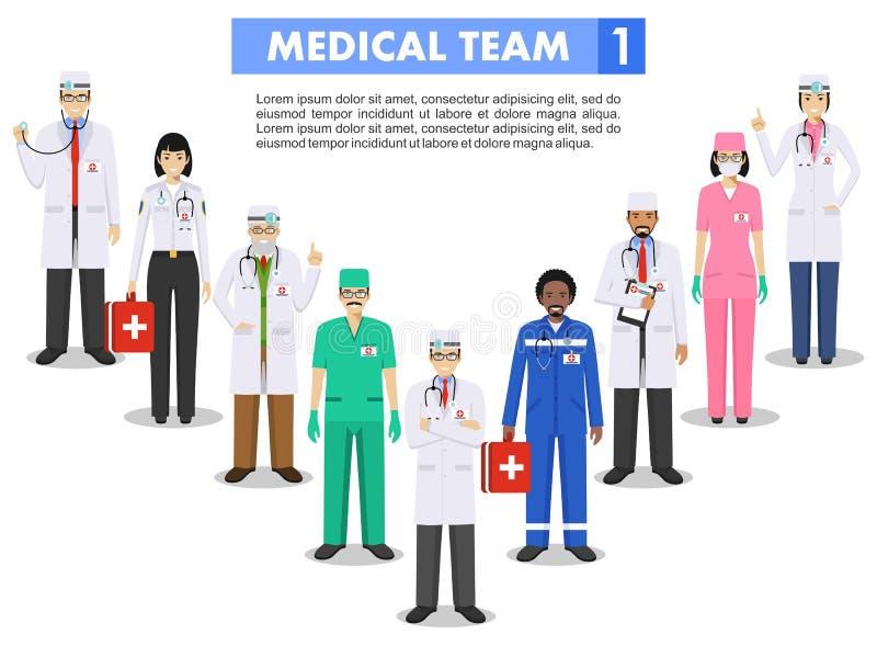 MEDICINSKT begrepp Detaljerad illustration av doktorn och sjuksköterskor i plan stil som isoleras på vit bakgrund praktiker vektor illustrationer