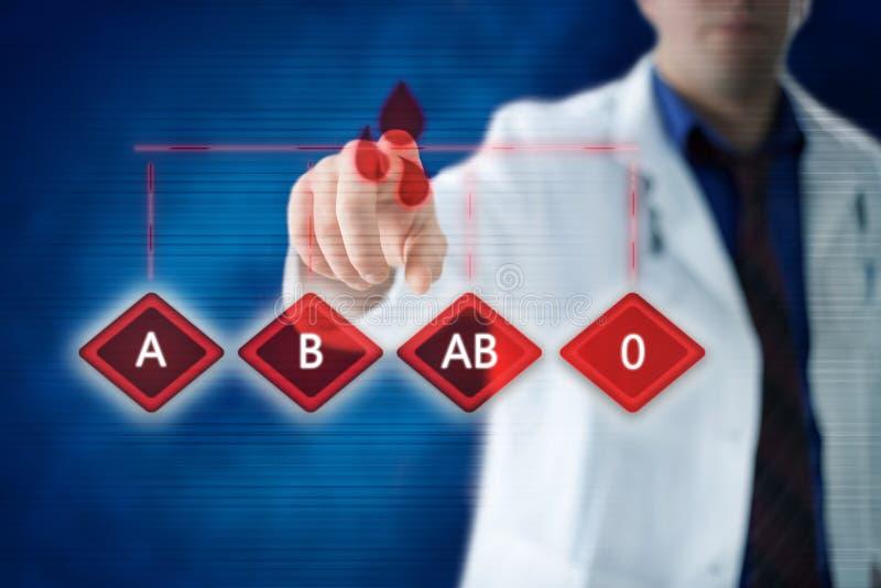 Medicinskt begrepp för blodtyp med doktorn i bakgrunden royaltyfri fotografi