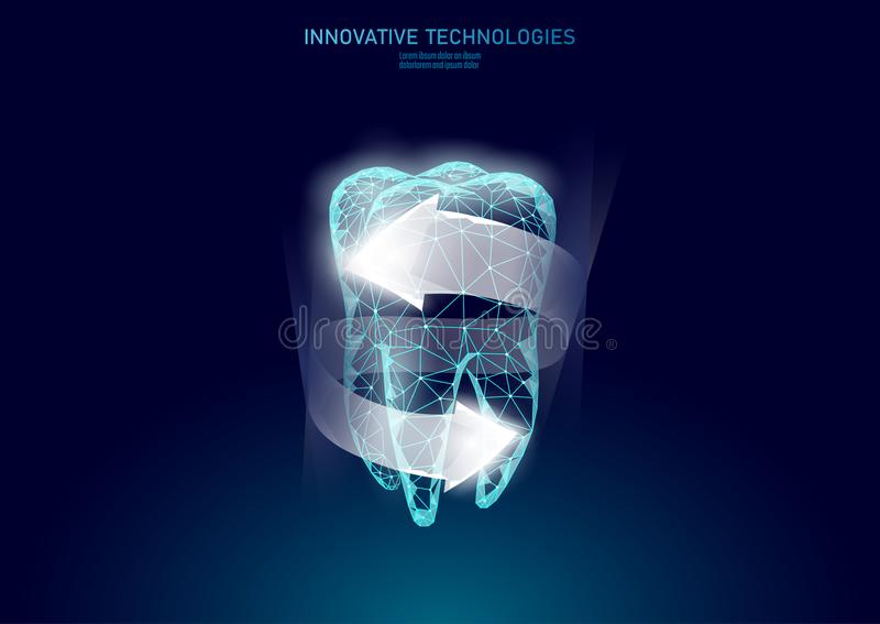 Medicinskt begrepp för lågt poly tandskydd Göra vit sjukvård för tandkrämemaljrekonstruktion Polygonal sunt royaltyfri illustrationer