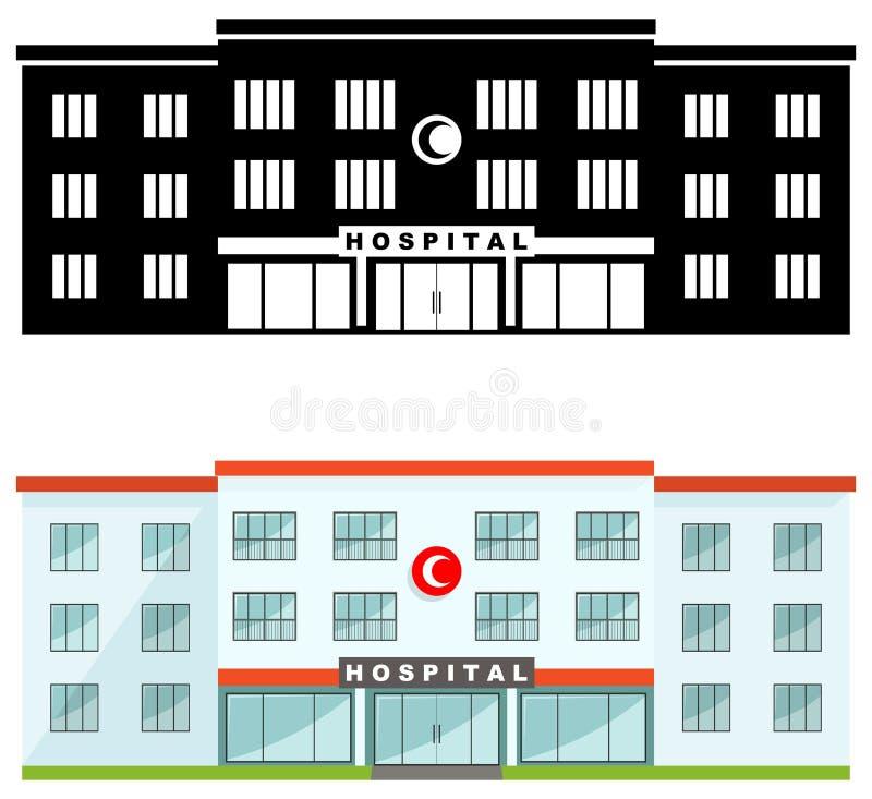 MEDICINSKT begrepp Olik snäll muslimsjukhusbyggnad som isoleras på vit bakgrund i plan stil: kulör och svart kontur royaltyfri illustrationer