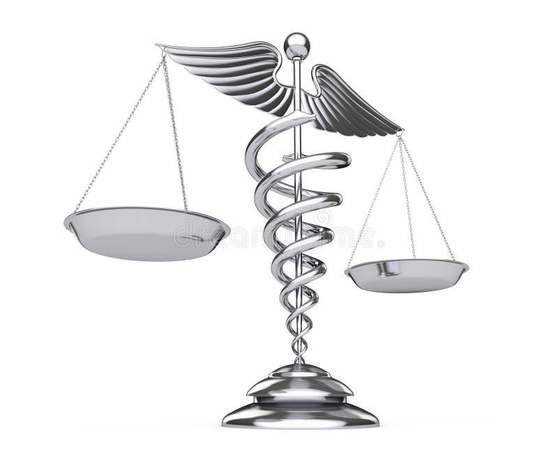 Medicinskt Caduceussymbol för silver som våg framförande 3d royaltyfri illustrationer