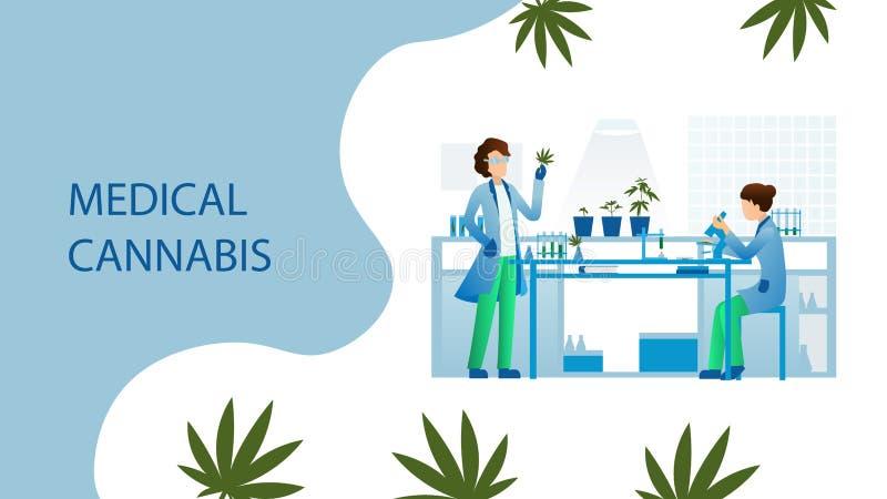 Medicinskt cannabislaboratorium för forskare stock illustrationer