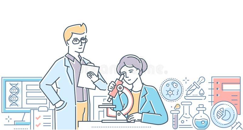 Medicinskt laboratorium - modern linje designstilillustration stock illustrationer