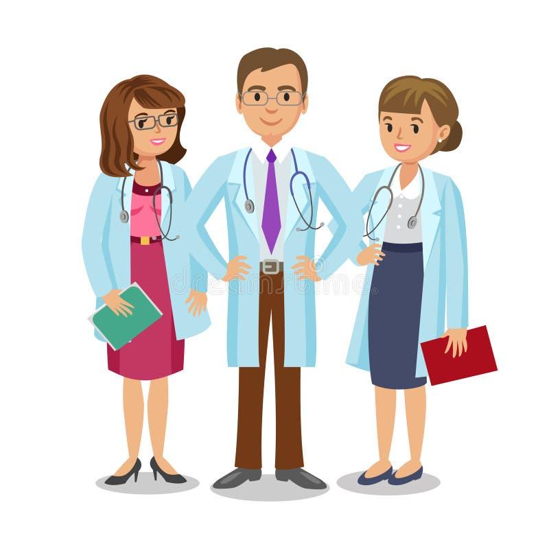 Medicinskt lag Tre doktorer med stetoskop, mannen och kvinnor vektor illustrationer