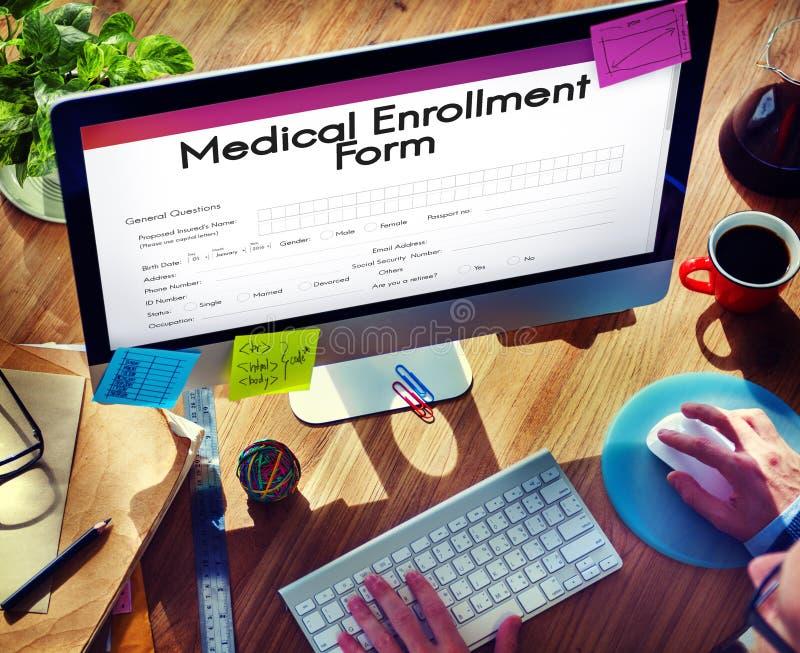 Medicinskt Medicare för inskrivningformdokument begrepp royaltyfri bild