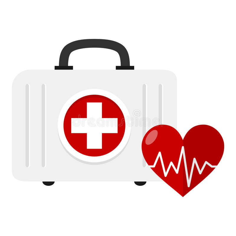 Medicinskt sats- och hjärtasjukvårdbegrepp stock illustrationer