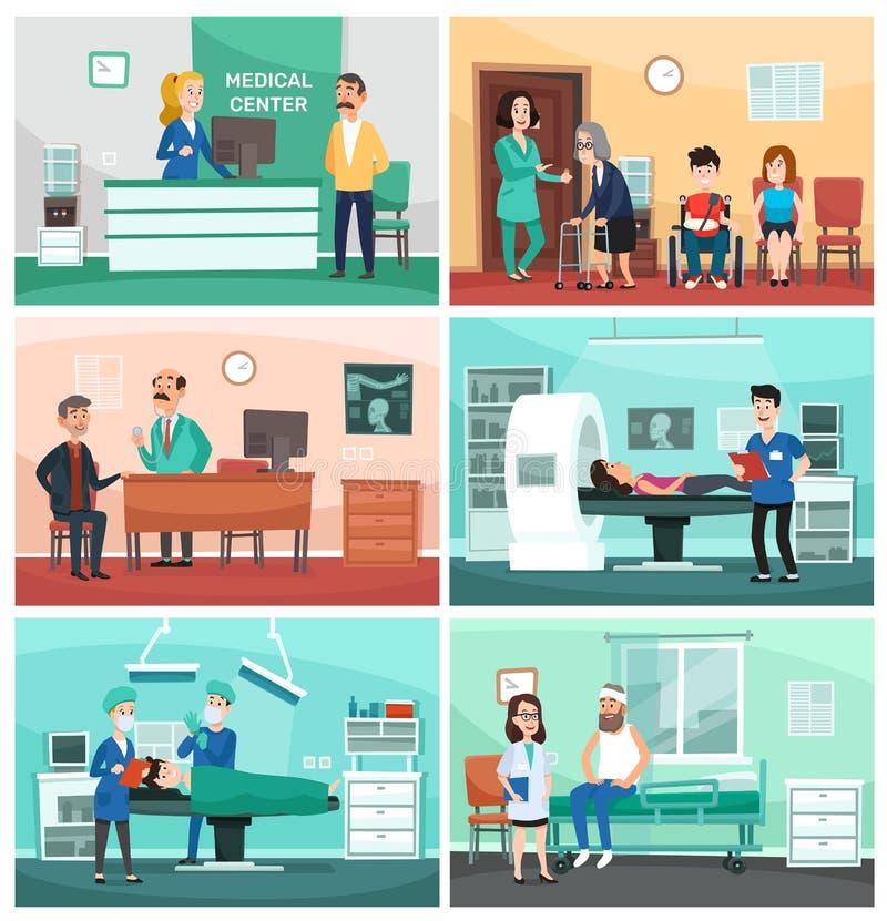 medicinskt sjukhus Klinisk omsorg, nöd- sjuksköterska med patienten och illustration för tecknad film för vektor för sjukhusdokto stock illustrationer