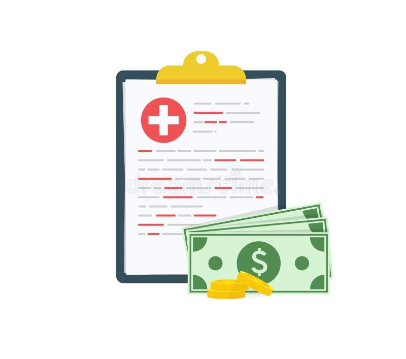 Medicinskt skrivplattadokument med pengar, sjukförsäkringform med högen av pengar, idé av dyr medicin, sjukvård royaltyfri illustrationer