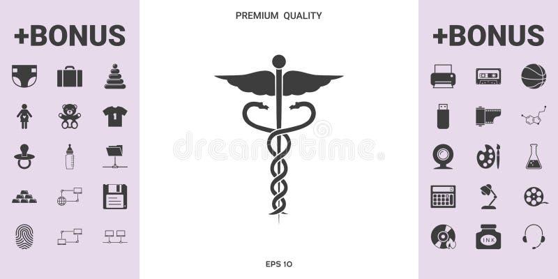 Medicinskt symbol för Caduceus - grafiska beståndsdelar för din design stock illustrationer