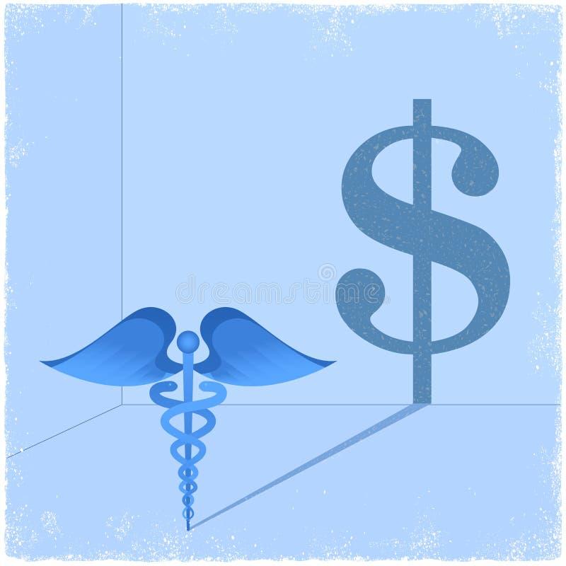 Medicinskt symbol för Caduceus som gjuter dollartecknet stock illustrationer