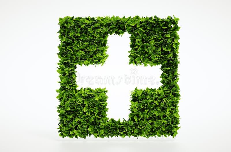 Medicinskt symbol för ekologi med vit bakgrund royaltyfri illustrationer