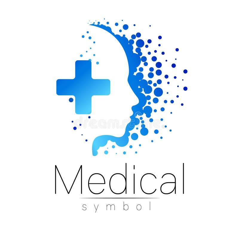 Medicinskt tecken för vektor med korset inom, mänsklig profil Symbol för doktorer, website, besökkort, symbol Blått färgar vektor illustrationer