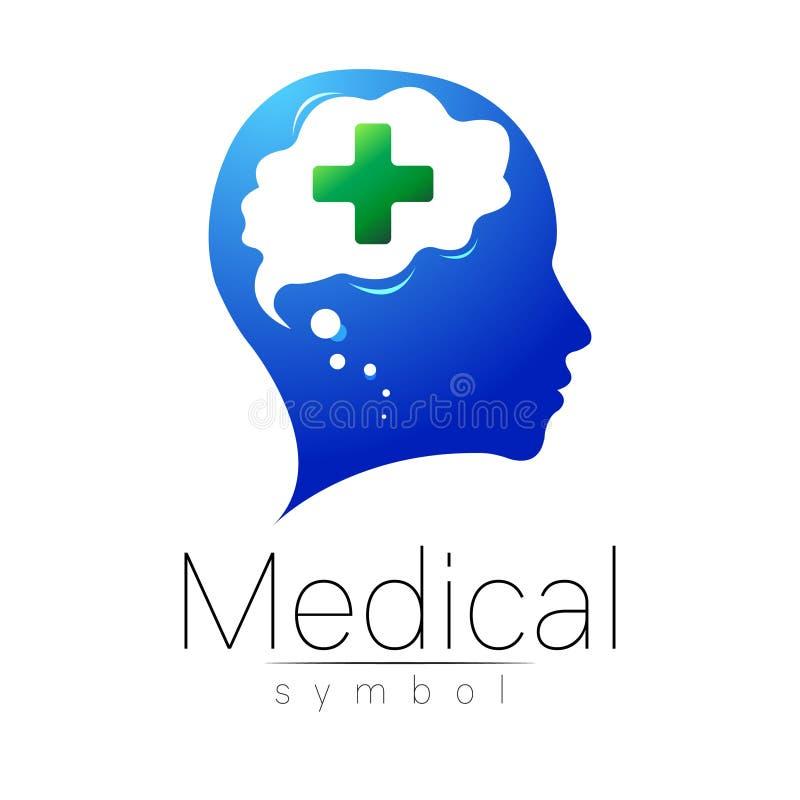Medicinskt tecken för vektor med korset, människa, hjärna Symbol för doktorer, website, besökkort, symbol Blå grön färg Medicin vektor illustrationer
