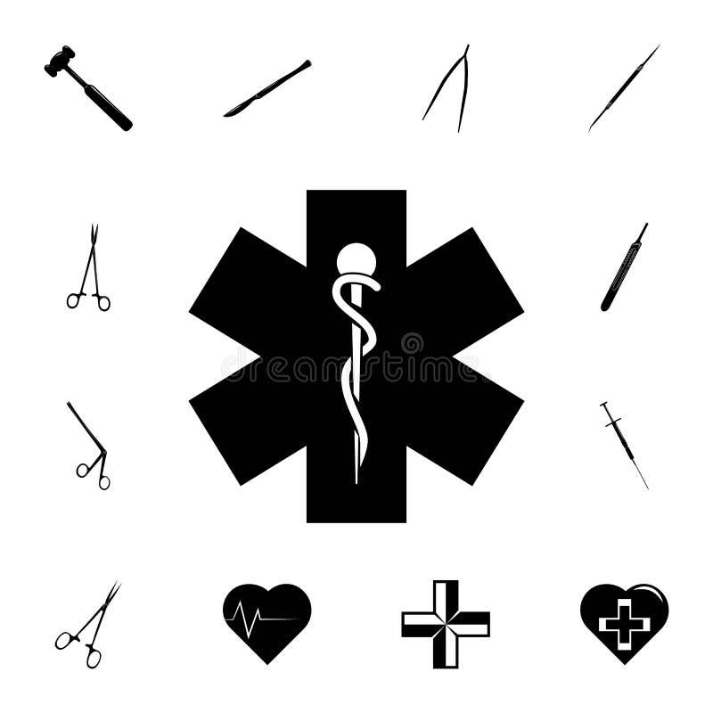 Medicinskt tecken med en ormsymbol Detaljerad uppsättning av medicinsymboler Högvärdigt kvalitets- tecken för grafisk design En a vektor illustrationer