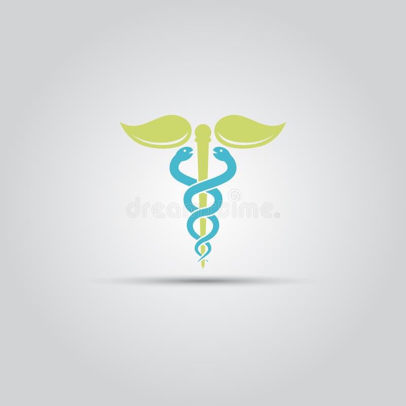 Medicinskt tecken med vektorsymbolen eller logo för två ormar vektor illustrationer