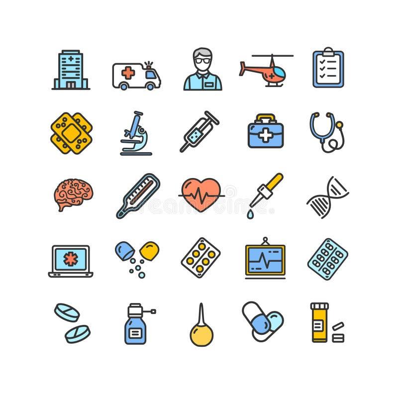 Medicinsymboler och tunn linje symbolsuppsättning för teckenfärg vektor vektor illustrationer