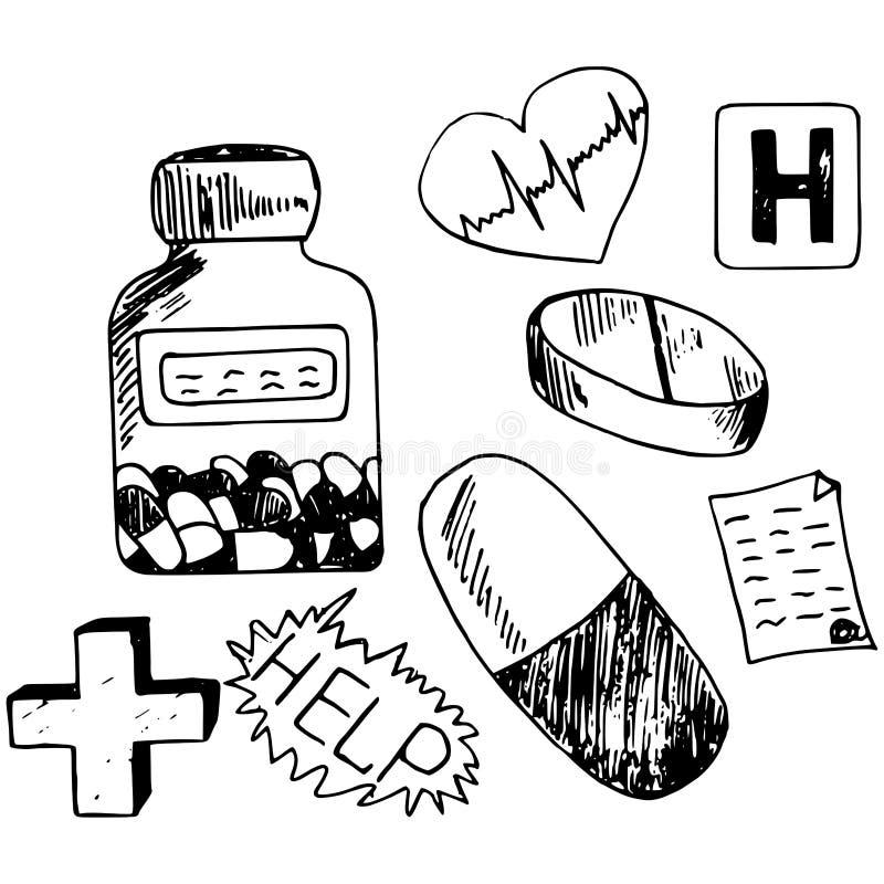 Medicinsymbolsklotter arkivbild