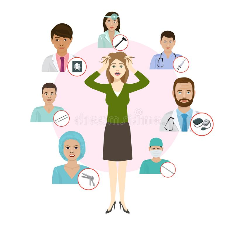 Medicne doctors proffesionals for womans deseases vector illustration. Medic staff set with medical tools icons. Medics. Team concept in flat design people royalty free illustration