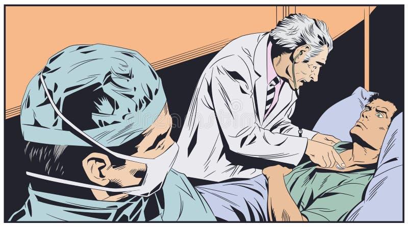 Medico anziano esamina l'uomo Illustrazione di riserva illustrazione di stock