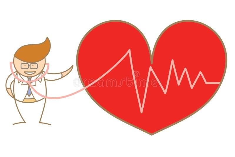 Medico ascolta il battimento di cuore royalty illustrazione gratis