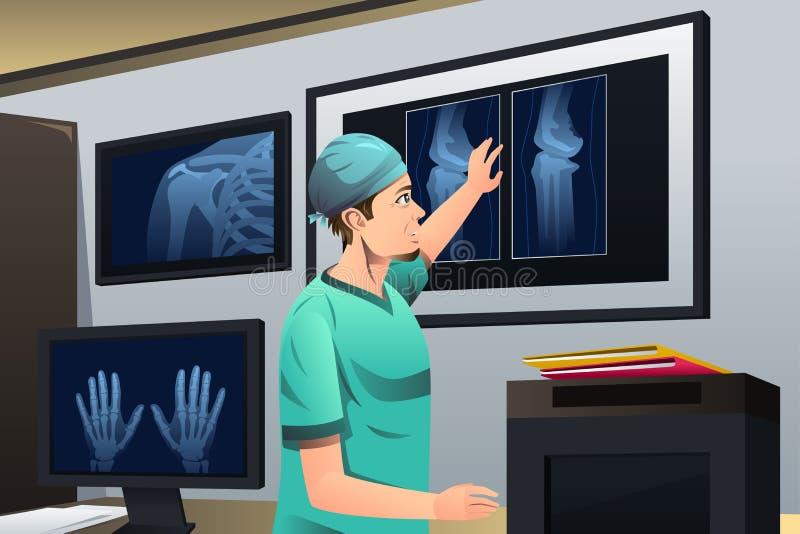 Medico che esamina raggi X royalty illustrazione gratis