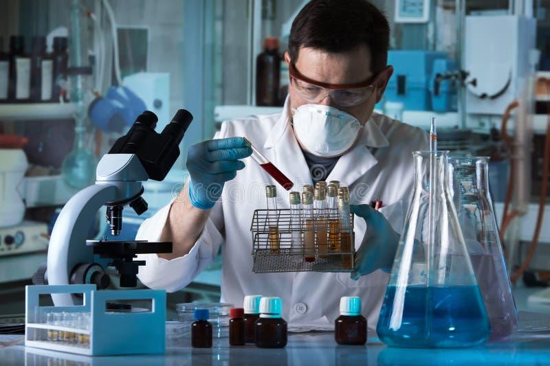 Medico che tiene il tubo ed il vassoio dell'analisi del sangue con i campioni di urina dei pazienti nel laboratorio di analisi immagine stock