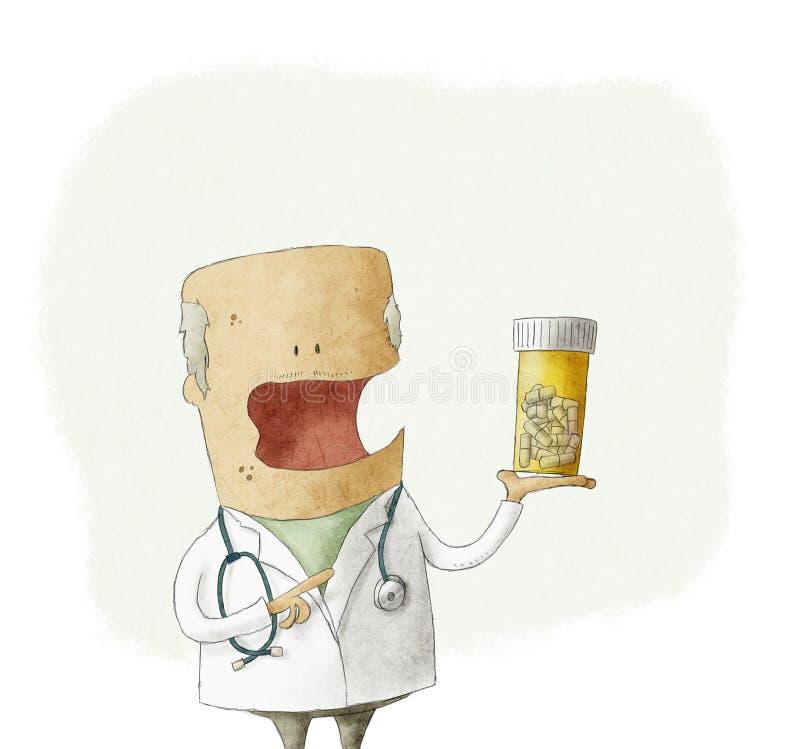 Medico che tiene una bottiglia delle pillole illustrazione vettoriale
