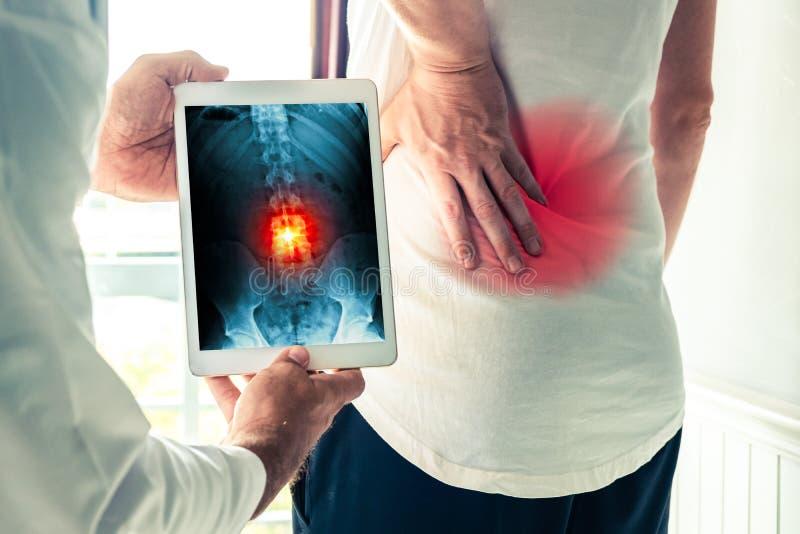 Medico che tiene una compressa digitale con x-Ray-di dolore alla schiena di un paziente fotografia stock