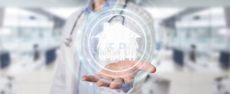 Medico che usando la rappresentazione digitale dell'interfaccia 3D di cura della famiglia illustrazione vettoriale