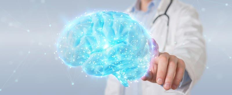 Medico che usando la rappresentazione digitale dell'ologramma 3D di scansione del cervello illustrazione di stock