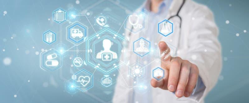 Medico che usando la rappresentazione futuristica medica digitale dell'interfaccia 3D illustrazione vettoriale