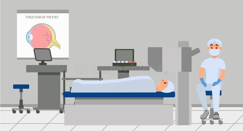 Medico che va condurre la chirurgia dell'occhio con per mezzo del microscopio Paziente che si trova sulla tavola nella sala opera royalty illustrazione gratis