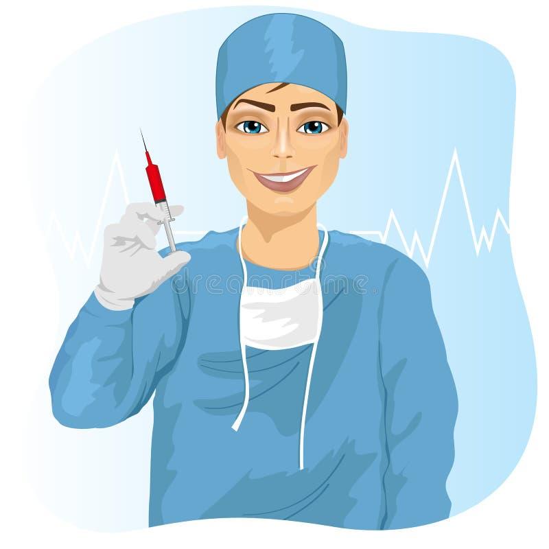 Medico, chirurgo o infermiere maschio tenenti una siringa illustrazione di stock