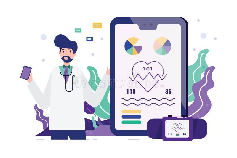 Medico con i dispositivi e la domanda astuti di salute illustrazione vettoriale