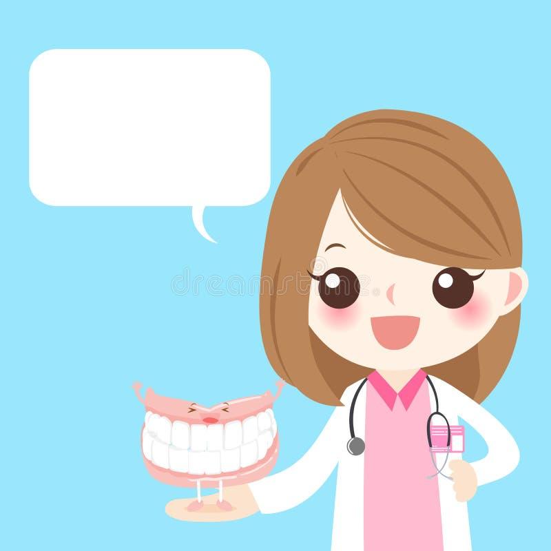 Medico con il dente falso illustrazione vettoriale