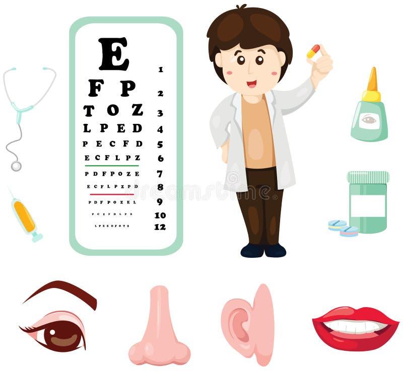 Medico con il grafico, la medicina e la parte di occhio del corpo royalty illustrazione gratis