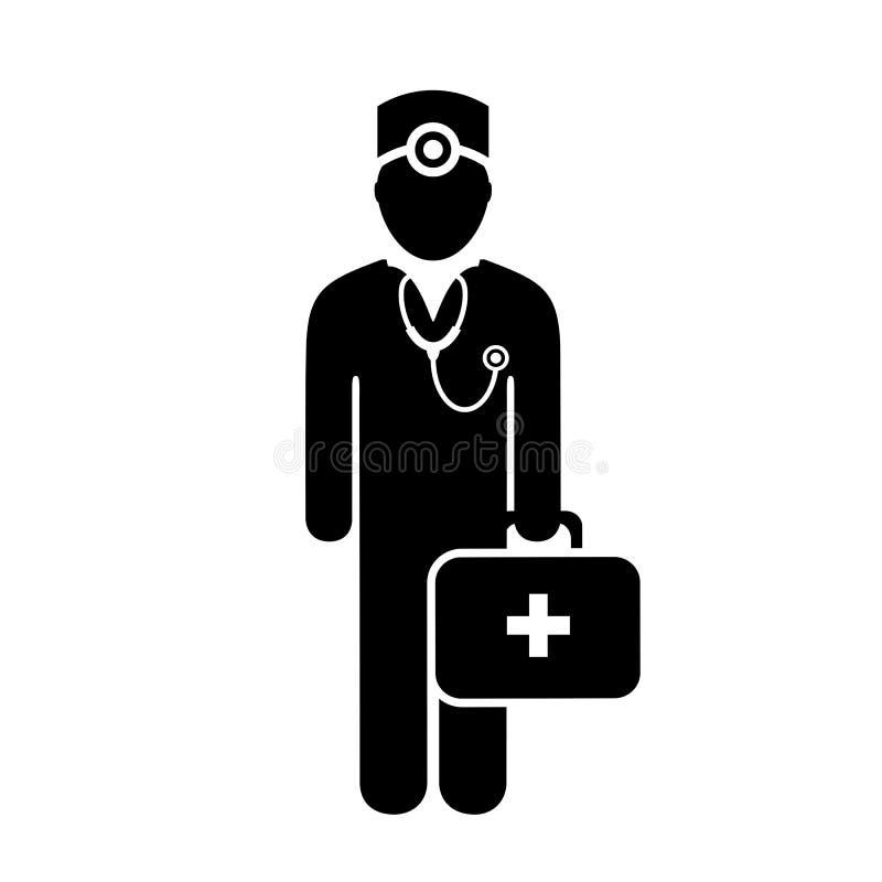 Medico con l'icona medica di vettore del petto illustrazione di stock