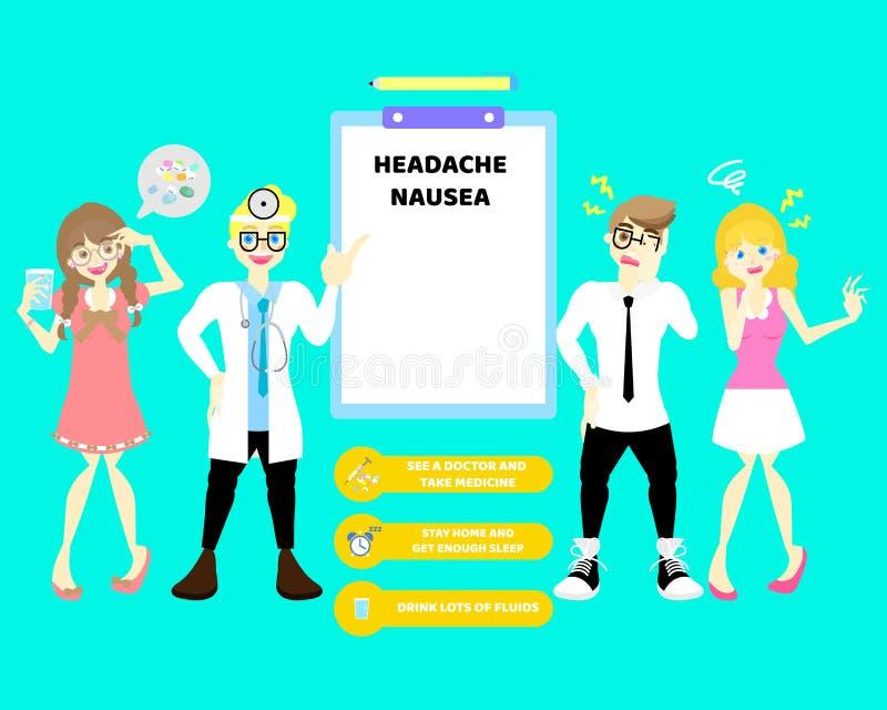 Medico con l'uomo e la donna che ha nausea e emicrania e donna prendono la droga della pillola della medicina, concetto infograph illustrazione di stock