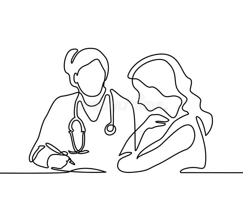Medico con la donna del paziente dell'ossequio dello stetoscopio illustrazione vettoriale