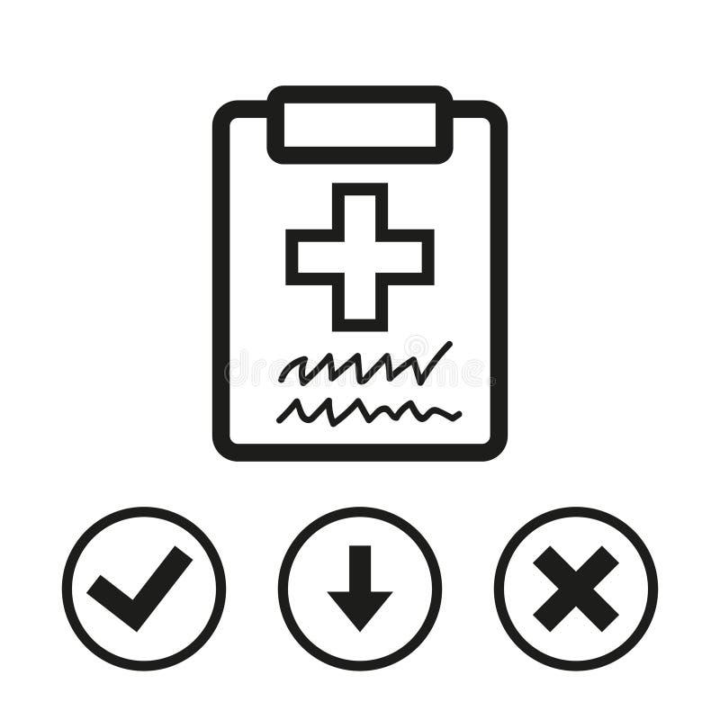 Medico con la lavagna per appunti lavagna per appunti con progettazione piana dell'illustrazione di vettore delle azione dell'ico royalty illustrazione gratis
