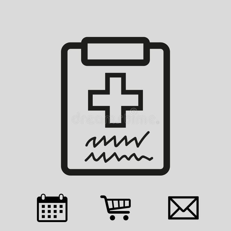 Medico con la lavagna per appunti lavagna per appunti con progettazione piana dell'illustrazione di vettore delle azione dell'ico illustrazione vettoriale