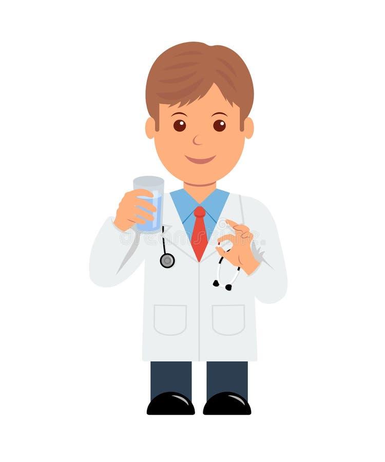 Medico con la pillola ed il bicchiere d'acqua a disposizione medico maschio del carattere che dà una pillola illustrazione vettoriale