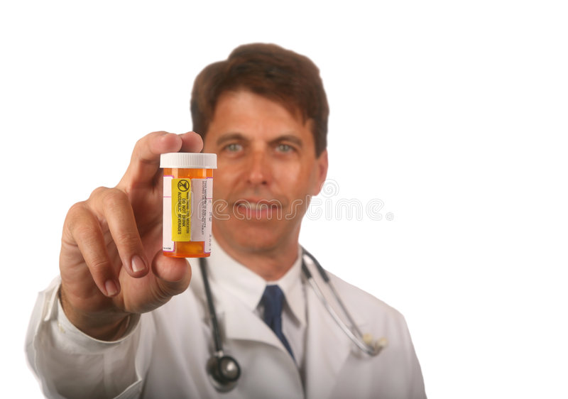 Medico con la prescrizione Bottl immagini stock