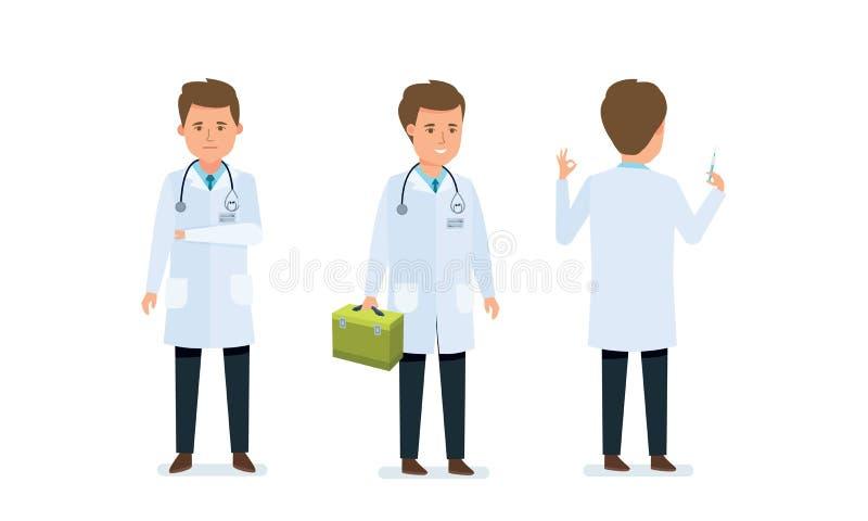 Medico conduce l'esame medico, studia i materiali, prescrive le medicine, strumento di tenuta illustrazione di stock
