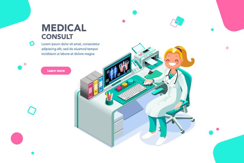 Medico consulti il modello di Exam Web Page dello specialista illustrazione vettoriale