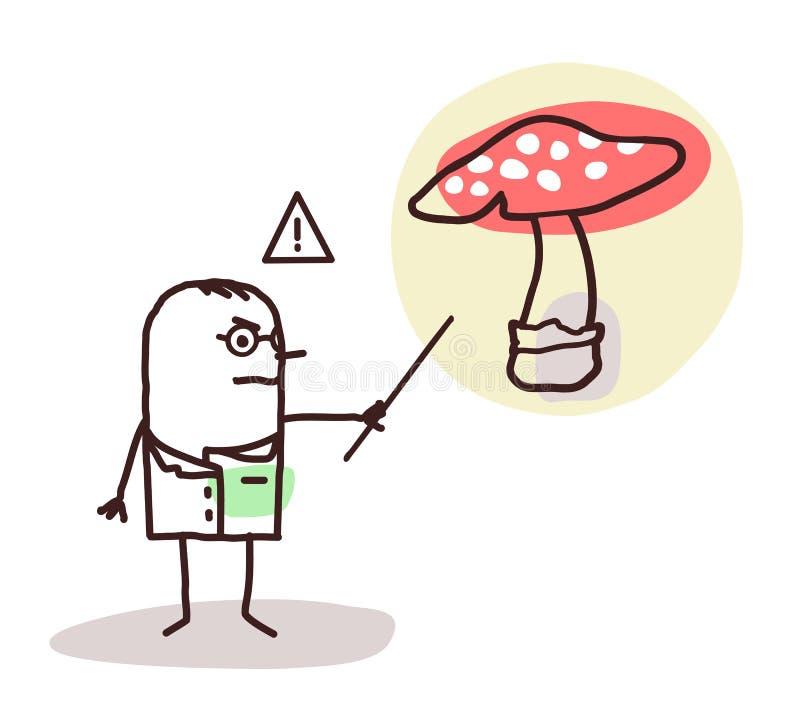 Medico del fumetto con il fungo pericoloso illustrazione di stock
