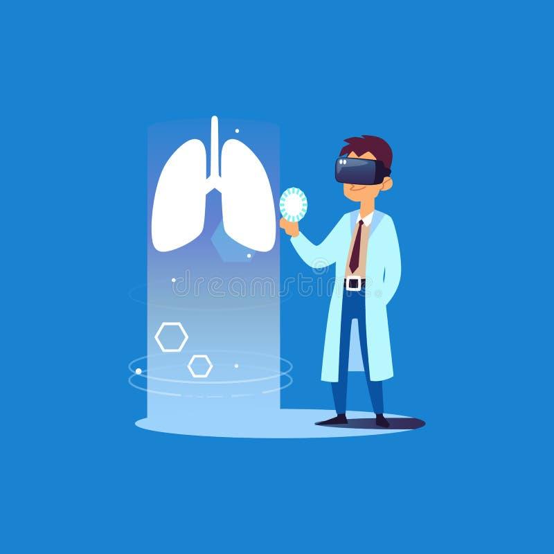 Medico del polmone facendo uso di tecnologia di realtà virtuale per l'esame medico di salute royalty illustrazione gratis